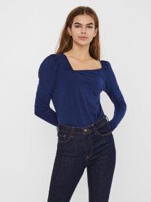 Modré tričko s asymetrickým výstřihem VERO MODA