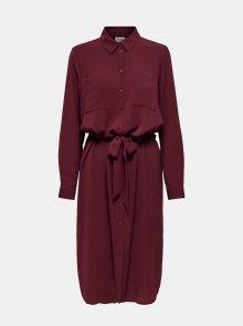 Vínové košilové šaty Jacqueline de Yong