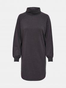 Tmavě šedé mikinové šaty s rolákem Jacqueline de Yong
