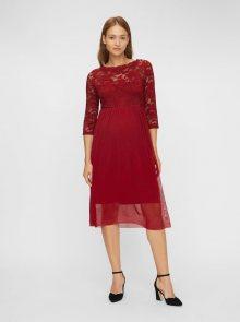 Vínové těhotenské šaty s krajkovým topem Mama.licious