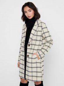 Krémový kostkovaný kabát Jacqueline de Yong Asmin