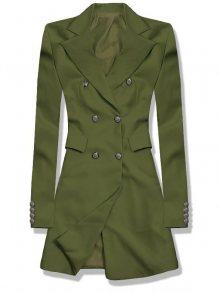 Khaki prodloužené sako s dvouřadým zapínáním