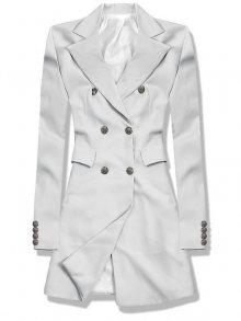 Světle šedé prodloužené sako s dvouřadým zapínáním