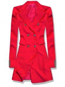 Červené prodloužené sako s dvouřadým zapínáním