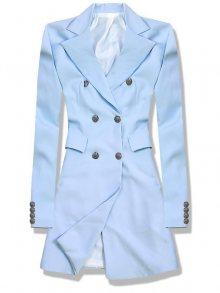 Světle modré prodloužené sako s dvouřadým zapínáním