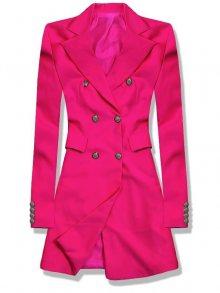 Fuchsiové prodloužené sako s dvouřadým zapínáním