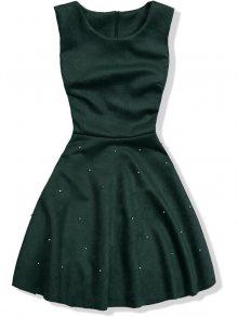 Zelené šaty bez rukávů s perličkami