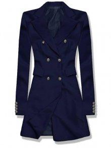 Tmavě modré prodloužené sako s dvouřadým zapínáním