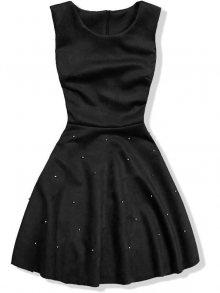 Černé šaty bez rukávů s perličkami