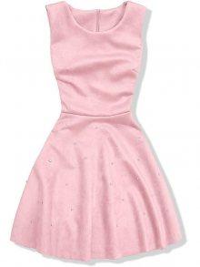 Pudrové šaty bez rukávů s perličkami