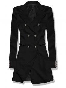 Černé prodloužené sako s dvouřadým zapínáním