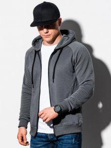 Ombre Clothing Stylová tmavě-šedá mikina na zip B1083
