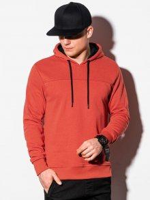 Ombre Clothing Zajímavá červená mikina s kapucí B1084