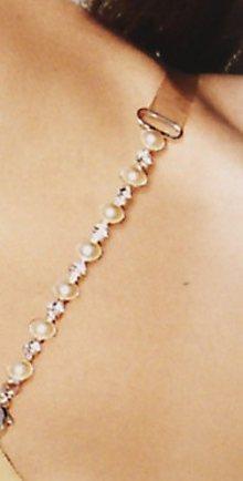 Ozdobná silikonová ramínka LEILIEVE 18 stříbrný řetízek s kamínky a perli UNI Stříbrná