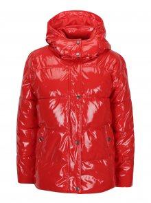 Červená lesklá zimní bunda s kapucí Noisy May Snipe