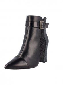 El Dantes Kotníkové boty na podpatku D16596-50_BLACK