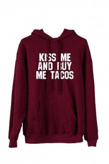 Mikina Oversize s kapucí Kiss me and buy me tacos