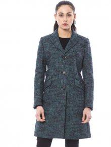 Trussardi Collection Dámský vlněný kabát D21TRC7006_54/Black-Green
