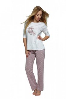 Sensis Kelly dámské pyžamo cappuccino-ecru L ecru-béžová