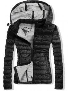 Černo-šedá jarní prošívaná bunda s kapucí