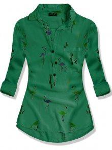 Zelená košile s potiskem plameňáků