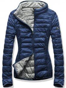 Modro-šedá jarní prošívaná bunda