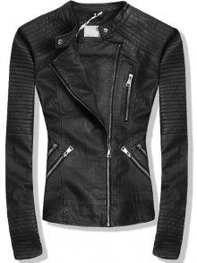 Černá koženková bunda se stříbrnými zipy
