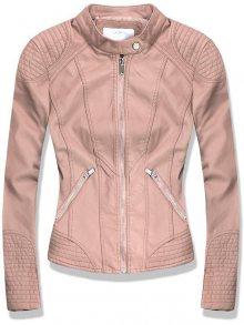 Pudrová koženková bunda s ozdobným prošíváním