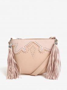 Světle růžová crossbody kabelka se střapci Miss Selfridge