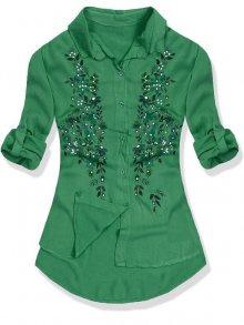 Zelená košile s květinovým potiskem