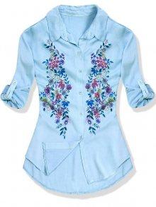 Světle modrá košile s květinovým potiskem