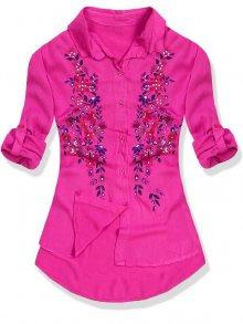 Fuchsiová košile s květinovým potiskem