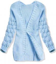 Baby blue pletený svetr s balónovými rukávy
