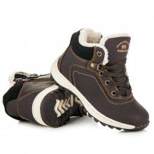 Sportovní tmavě hnědé dětské zimní boty s kožíškem