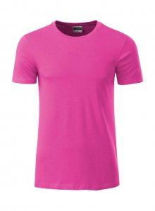Pánské tričko Organic JN - Zářivě růžová M
