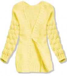 Žlutý pletený svetr s balónovými rukávy