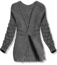 Tmavě šedý pletený svetr s balónovými rukávy