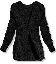 Černý pletený svetr s balónovými rukávy
