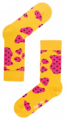 Cow 2014 Ponožky Happy Socks   Růžová Žlutá   Dámské   36-40