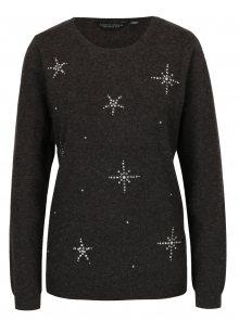 Šedý žíhaný svetr s motivem hvězd Dorothy Perkins