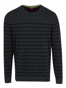 Tmavě šedý pánský pruhovaný svetr s.Oliver