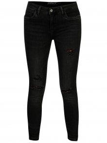 Tmavě šedé skinny džíny s potrhaným efektem ONLY Kendell