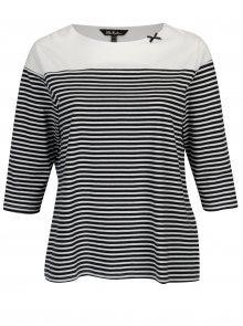 Modro-bílé pruhované regular tričko s 3/4 rukávem Ulla Popken