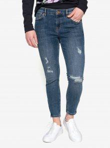 Modré zkrácené skinny džíny s potrhaným efektem Oasis Rip and Repair