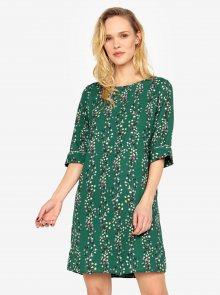 Zelené květované šaty s průstřihem na zádech ONLY Ditte
