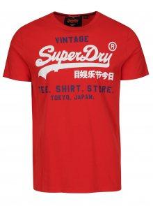 Červené tričko s krátkým rukávem a potiskem Superdry