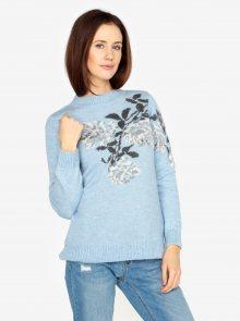 Světle modrý svetr s motivem květin M&Co