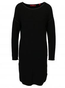 Černé svetrové žebrované šaty s.Oliver