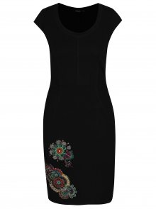 Černé šaty s výšivkami Desigual Eugenia