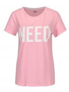 Růžové tričko s potiskem ONLY RIVA Need